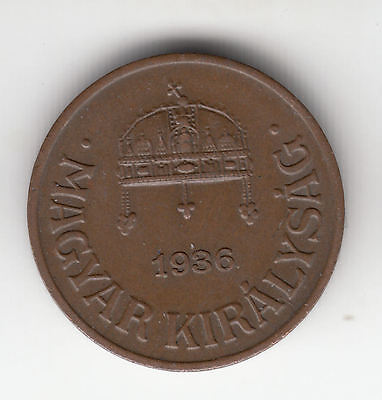 Hungary 1 Filler 1936 Copper Crown     266T            By Coinmountain