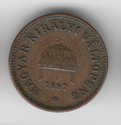 Hungary 2 Filler 1897 Copper Crown     202Y        By Coinmountain