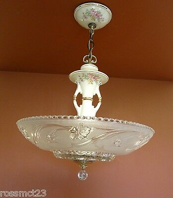 Vintage Lighting pair 1930s Porcelier living room floral chandeliers   Stunning