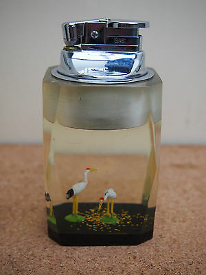 COLLECTABLE VINTAGE RESIN TABLE LIGHTER - STORK FIGURES IN CLEAR RESIN - 1960's