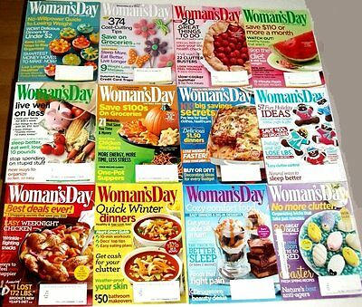 12 Woman's Day Magazine lot: 2009 - 2014 issues