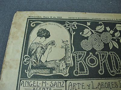 ANTIQUE MAY 10 1923 EMBROIDERY JOURNAL w/ PATTERNS, LACES, ALPHABETS, MONOGRAMS