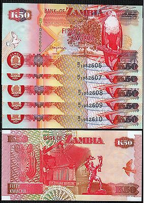 SZ4 ZAMBIA 50 KWACHA 2001 UNCIRCULATED  P.37c 5 NOTES IN SEQUENCE