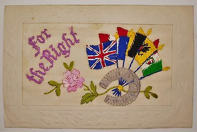 Antique 1915 WWI Embroidered Silk For The Right Military French Britain Postcard