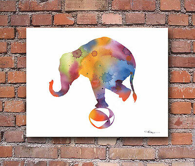 Circus Elephant Abstract Watercolor Painting Art Print by Artist DJ Rogers
