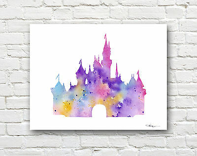 Cinderella's Castle Abstract Watercolor Painting Art Print by Artist DJ Rogers