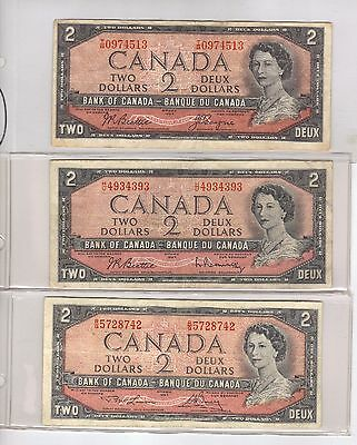 1954 $2 Lot Of 3 Bank Of Canada Notes, Includes One 3 Digit Repeater! ,vg-F+