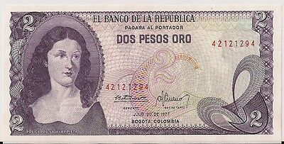 COLOMBIA=1973   2  PESOS   P-413   UNC  small serial