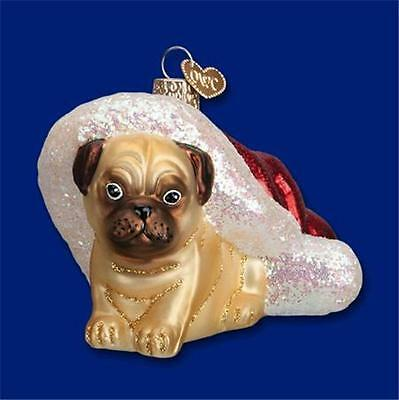 12431  HOLIDAY PUG PUPPY Dog   Old World Christmas Ornament    Free Box