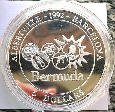 Bermuda 1992 Olympics 5 Dollars 5oz Silver Coin,Proof