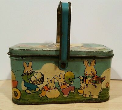 Vintage Tindeco Peter Rabbit's Easter Greetings Lunch Box Form Candy Tin Litho