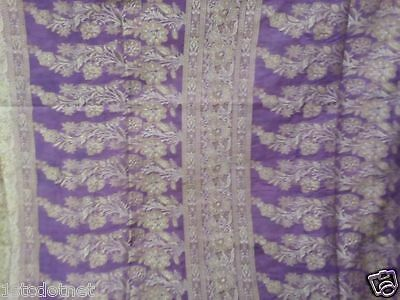 Antique Vintage Weaving Woven Pure Silk Fabric Floral  Sari Saree Free Shipping