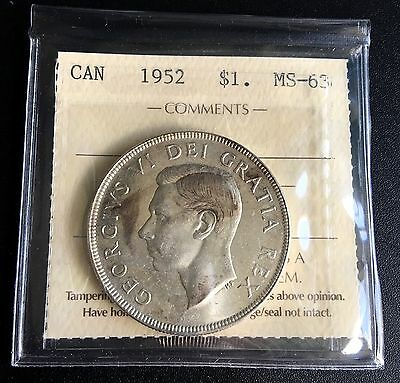 1952 Nwl Silver $1 One Dollar Canada *iccs Graded Ms-63* - Certification Zv-949