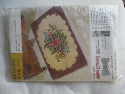 """AUNT LYDIA'S KIT #651 Sealed Punch needle rug or wall hanging Floral 24"""" x 36"""""""