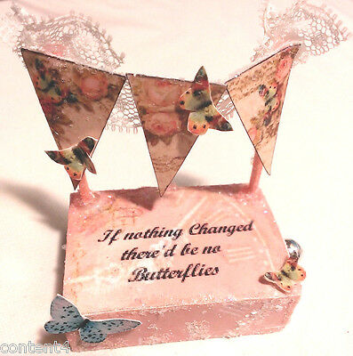 altered art mixed media butterfly bunting w/charm matchbox keepsake