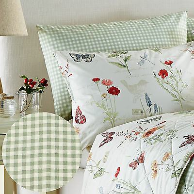 Country Cottage Pillow Case Pair With Gingham Check In Neutral Cream & Green