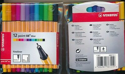 Stabilo 12 point 88 Mini Fineliner 0.4 mm NEW made in Germany