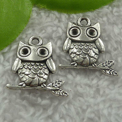 Free Ship 180 pieces tibet silver owl charms 23x22mm #2426