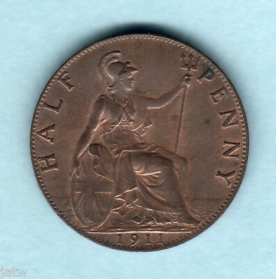 Great Britain.  1911 Halfpenny.. Much Lustre..  UNC