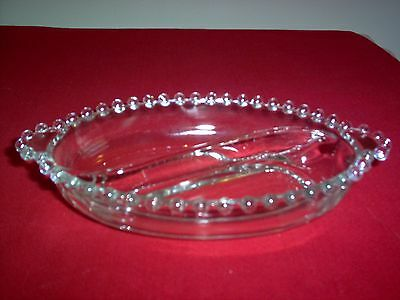 "Imperial Candlewick Crystal #400/268 Two-part Oval 8"" Relish or Candy - MINT"