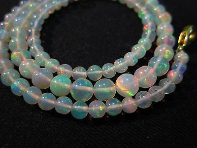 """47 Ct 17"""" Awesome Fire Play Natural Welo Ethiopian Opal Beads Necklace CJ37"""