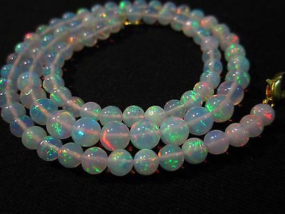 """63 Ct 17"""" Awesome Fire Play Natural Welo Ethiopian Opal Beads Necklace CJ31"""