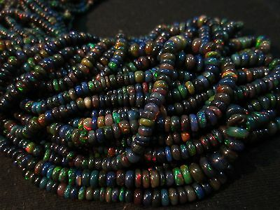 """33 Ct 17"""" Natural Fire Play Black Ethiopian Welo Opal Rondelle Beads Strand"""