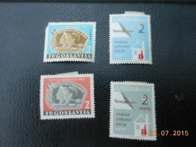 YUGOSLAVIA MINT HINGED x 4 STAMPS. 1957.