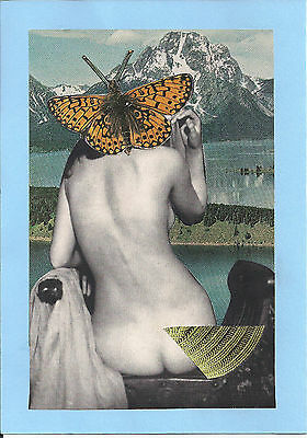 Original Handmade Collage One of A Kind Art work Paper on Card A5