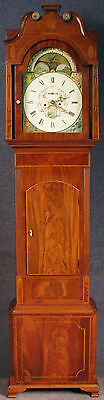 Late Georgian 8 Day Inlaid Mahogany Longcase Grandfather Clock With Rolling Moon