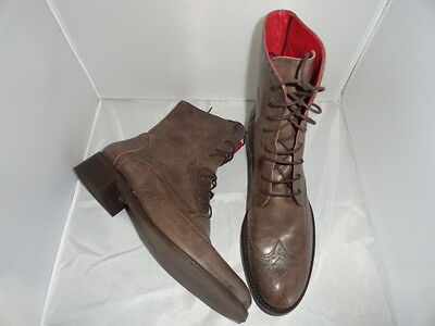 Ladies Taupe Leather 'valeria Grossi- Rinny' Laceup Boots - Size 41(10) -As New