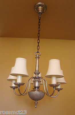 Vintage Lighting antique 1920s silver chandelier   Living Room Bedroom Bath