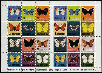 24 norvegian poster stamps 1970 oslo, norway, fight cancer! butterflies/e7278