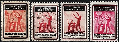 4 old norvegian poster stamps 1941-1942, norway, fight cancer! /e7282
