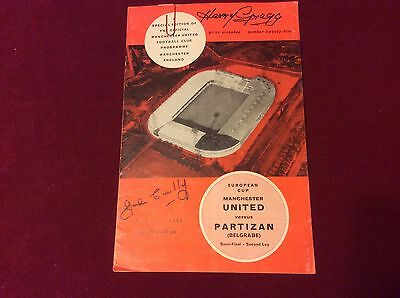 Manchester United V Partizan 1966 Signed Programme Busby Babe Gregg & Busby