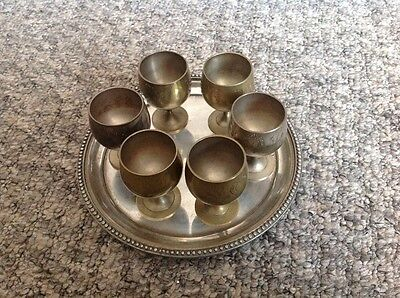 Vintage Silver Plated EPNS Miniature Goblets Set Of 6 on Tray
