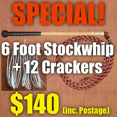 SPECIAL! StockWhip 6 foot 4 Plait Red Hide + Crackers - Brian Nemeth Design