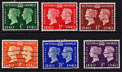 GB George VI Stamps Full Set 1940 'Centenary ' Cancelled GCV