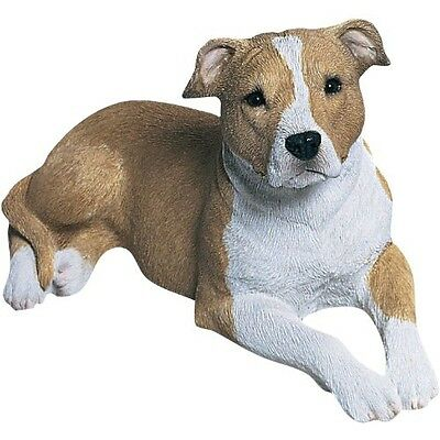 Sandicast Mid Size Fawn and White Pit Bull Terrier Sculpture, Lying