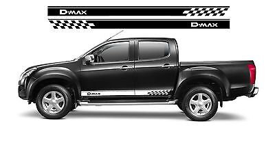 ISUZU D-MAX Side Chequers Graphics Stickers Decals 3 *(Any Colour)