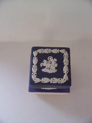 Wedgwood Portland Blue jasperware Square candy box in excellent condition.
