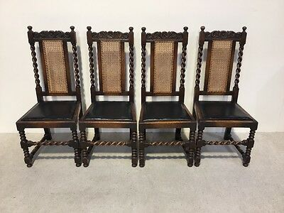 Set Of 4 Antique Oak Dining Chairs Barley Twist Good Design