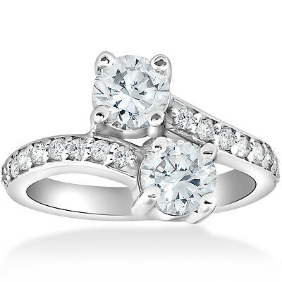 2 Carat Forever Us Two Stone Engagement Diamond Solitaire Ring 14K White Gold