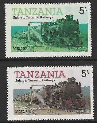 Tanzania (09) 1985 Locomotives 5s RED OMITTED plus normal mnh Trains Railways