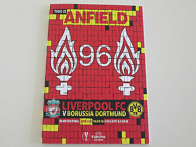 Liverpool Borussia Dortmund Programme Europa League QF 2nd Leg This Is Anfield