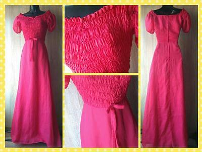 Beautiful cerise pink 1970s retro vintage crepe chiffon evening gown