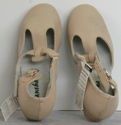 NEW $34 SANSHA Cream LEATHER Character Shoes PRIMA LEA Sz 6 M Dance Wear