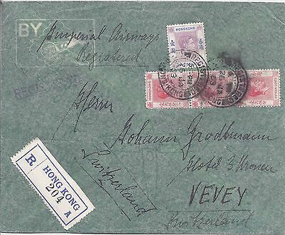 Hong Kong 1939 registered airmail cover to Switzerland