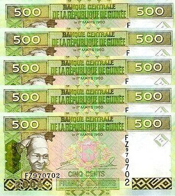Guinea 500 Francs 2006 Unc 5 Pcs Consecutive Lot P.39