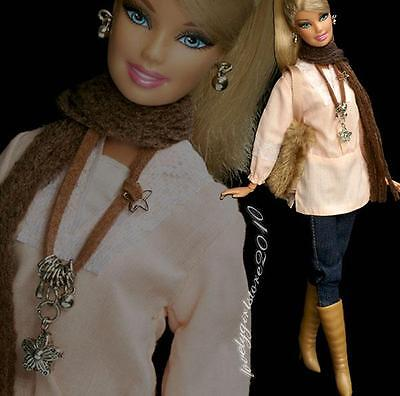 Fashion outfit jeans scarf bag boots + jewelry necklace earrings for Barbie #650